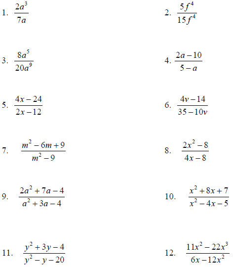 Simplifying Rational Expressions Worksheet Answers ...
